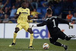 September 20, 2018 - Vila-Real, Castellon, Spain - Toko Ekambi (L) of Villarreal CF competes for the ball with Allan McGregor of Rangers during the UEFA Europa League group G match between Villarreal CF and Rangers at Estadio de la Ceramica on September 20, 2018 in Vila-real, Spain  (Credit Image: © David Aliaga/NurPhoto/ZUMA Press)