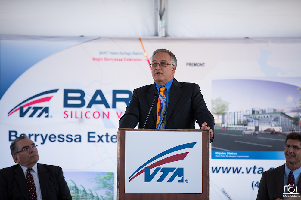 California Transportation Commission Commissioner Jim Earp gives a speech during VTA's BART Silicon Valley Extension Celebration in San Jose, California, on August 20, 2014. (Stan Olszewski/SOSKIphoto)
