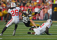 October 23 2010: Iowa Hawkeyes tight end Brad Herman (39) can't hang on to a pass after a hit by Wisconsin Badgers cornerback Jay Valai (2) as Wisconsin Badgers cornerback Antonio Fenelus (26) looks on during the first half of the NCAA football game between the Wisconsin Badgers and the Iowa Hawkeyes at Kinnick Stadium in Iowa City, Iowa on Saturday October 23, 2010. Wisconsin defeated Iowa 31-30.