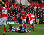 Charlton Athletic defender, Harry Lennon (26) watching the ball go in off a Blackburn player during the Sky Bet Championship match between Charlton Athletic and Blackburn Rovers at The Valley, London, England on 23 January 2016. Photo by Matthew Redman.