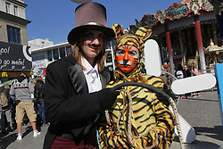 September 30, 2018 - Dnipro, Ukraine - Activists dressed in the costumes of a tiger and a tamer with a whip during the nationwide march for animal rights, Dnipro, central Ukraine, September 30, 2018. Ukrinform. (Credit Image: © Mykola Miakshykov/Ukrinform via ZUMA Wire)