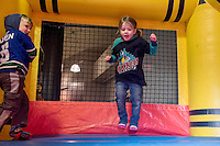 KELOWNA, CANADA - FEBRUARY 13: Kids enjoy the family day bouncy castle on February 13, 2017 at Prospera Place in Kelowna, British Columbia, Canada.  (Photo by Marissa Baecker/Shoot the Breeze)  *** Local Caption ***