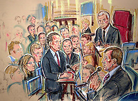 ©PRISCILLA COLEMAN ITV NEWS.SUPPLIED BY PHOTONEWS SERVICELTD 22.09.03.DRAWING SHOWS LEFT TO RIGHT CALDERCOTT Q.C. LORD HUTTON AND ALISTAIR CAMPBELL  AT THE HUTTON INQUIRY ..SEE STORY.