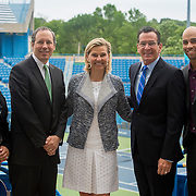 June 9, 2015, New Haven, CT:<br /> (From left to right) New Haven Mayor Toni Harp, Vice President of State Government Relations for United Technologies Peter Holland, Tournament Director Anne Worcester, Connecticut Governor Dannel P. Malloy, and former ATP World Tour star and Connecticut Open Legends Event Participant James Blake pose for a photograph during a press conference at the Connecticut Tennis Center to announce the new Connecticut Open 50/50 Project and the renewal of United Technologies sponsorship of the tournament through the 2017.<br /> (Photos by Billie Weiss/Connecticut Open)