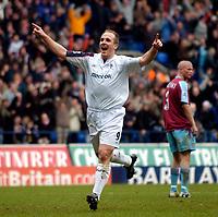 Photo: Jed Wee.<br />Bolton Wanderers v West Ham United. The Barclays Premiership. 11/03/2006.<br /><br />Bolton's Henrik Pedersen celebrates his goal.