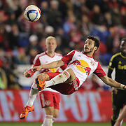 Felipe Martins, New York Red Bulls, clears the ball with an overhead kick during the New York Red Bulls Vs Columbus Crew SC, Major League Soccer Eastern Conference Championship, second leg, at Red Bull Arena, Harrison, New Jersey. USA. 29th November 2015. Photo Tim Clayton