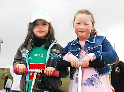 Sorcha McCarney and Rachel Moran enjoyed the opening of the Greenway Park in Westport last friday...Pic Conor McKeown.