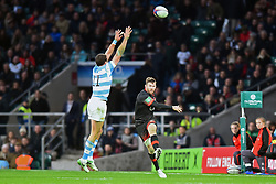 November 11, 2017 - London, England, United Kingdom - England's Elliot Daly clears his lines during Old Mutual Wealth Series between England against Argentina at Twickenham stadium , London on 11 Nov 2017  (Credit Image: © Kieran Galvin/NurPhoto via ZUMA Press)
