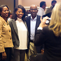 Nominee Emily Tucker, center, poses for a photo with her parents Patty, left, and William, right, before the start of the Daily Journal's Top 40 Under 40 lunch event Thursday afternoon at the First United Methodist Church in Tupelo. Emily was named a finalist during the event.