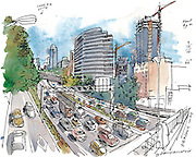 Seattle Sketcher Gabriel Campanario stands on the Denny Way overpass looking at the downtown concrete canyon that some would like to see covered with a lid. (Gabriel Campanario / The Seattle Times)