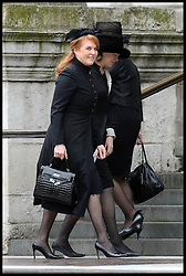 The Duchess of York arrives for Lady Thatcher's funeral at St Paul's Cathedral following her death last week, London, UK, Wednesday 17 April, 2013, Photo by: Andrew Parsons / i-Images