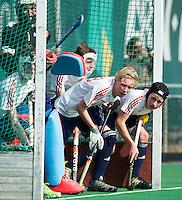 ROTTERDAM -    Finley Newton,  Callum Bell.   (Eng).     Practice Match  Hockey : Netherlands Boys U16  v England U16 . COPYRIGHT KOEN SUYK
