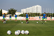 The players warming up before the match during the Pre-Season Friendly match between SC Farense and Forest Green Rovers at Estadio Municipal de Albufeira, Albufeira, Portugal on 25 July 2017. Photo by Shane Healey.