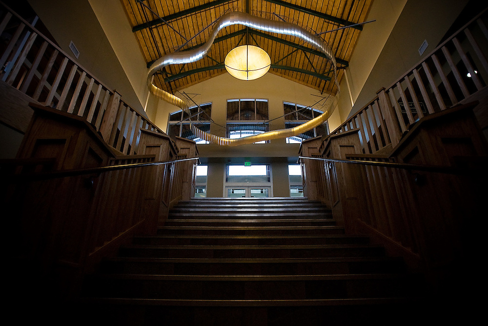 """JEROME A. POLLOS/Press..Tim Prentice's """"Kinetic Art"""" installation, which hangs over the entrance of the Coeur d'Alene Public Library, is one of 26 pieces of art owned by the city of Coeur d'Alene and one of four """"significant"""" pieces of art acquired in 2007."""