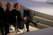 General Motors Chairman and Chief Executive Officer Rick Wagoner, right, and Michigan Gov. Jennifer Granholm, left, take in the GM press conference during Media Week at the North American International Auto Show in Detroit, Michigan, Sunday, January 11, 2009...Wagoner resigned as Chairman and CEO at General Motors on March 29, 2009, at the request of the White House.