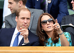 Image licensed to i-Images Picture Agency. 06/07/2014. London, United Kingdom. Duke and Duchess of Cambridge in the Royal Box  at the Wimbledon Men's Final.  Picture by Andrew Parsons / i-Images