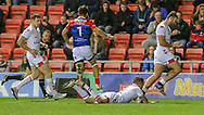 Richie Myler scores for England, also Mark Percival (left) and Jake Connor (right) of England and Stanislav Robin of France during the International Friendly match at Leigh Sports Village, Leigh<br /> Picture by Steve McCormick/Focus Images Ltd 07545 862647<br /> 17/10/2018