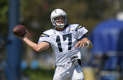 Aug 6, 2018; Costa Mesa, CA, USA: Los Angeles Chargers quarterback Philip Rivers (17) throws a pass during training camp at the Jack. R. Hammett Sports Complex.