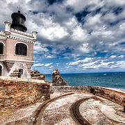 The Lighthouse at the 16th Century fortress San Felipe del Morro (El Morro) in San Juan, Puerto Rico.