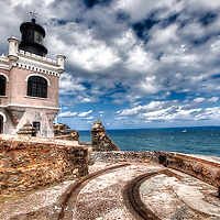 The Lighthouse at the 16th Century fortress San Felipe del Morro (El Morro) in San Juan, Puerto Rico.