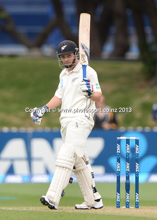 BJ Watling acknowledges his 50 not out on Day 2 of the 2nd cricket test match of the ANZ Test Series. New Zealand Black Caps v West Indies at The Basin Reserve in Wellington. Thursday 12 December 2013. Mandatory Photo Credit: Andrew Cornaga www.Photosport.co.nz
