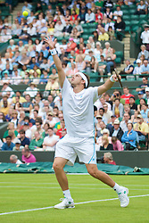 LONDON, ENGLAND - Monday, June 22, 2009: Gilles Muller (LUX) during his Gentleman's Singles 1st Round match on day one of the Wimbledon Lawn Tennis Championships at the All England Lawn Tennis and Croquet Club. (Pic by David Rawcliffe/Propaganda)