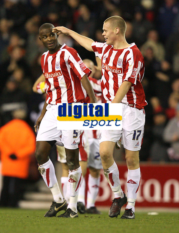 Photo: Paul Greenwood/Sportsbeat Images.<br />Stoke City v Norwich City. Coca Cola Championship. 01/12/2007.<br />Stoke's Leon Cort, (L) and Ryan Shawcross celebrate victory