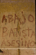 """Down with Batista Murderer""  written on a wall in front of the University of Havana two days before Batista y Zaldivar fled Cuba, December 28, 1958."