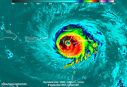 September 6, 2017 - Atlantic Ocean, U.S. - VIIRS Image. Hurricane Irma intensified into a strong and 'potentially catastrophic' category 5 storm. By definition, category 5 storms deliver maximum sustained winds of at least 157 miles (252 kilometers) per hour. Irma's winds that morning approached 180 miles per hour, the strongest ever measured for an Atlantic hurricane outside of the Gulf of Mexico or north of the Caribbean. (Credit Image: © NOAA/NASA via ZUMA Wire/ZUMAPRESS.com)