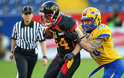 03.06.2014, NV Arena, St. Poelten, AUT, American Football Europameisterschaft 2014, Gruppe A, Schweden (SWE) vs Deutschland (GER), im Bild Niklas Roemer, (Team Germany, WR, #84) und Olaf Eriksson, (Team Sweden, DB, #20) // during the American Football European Championship 2014 group A game between Sweden vs Germany at the NV Arena, St. Poelten, Austria on 2014/06/03. EXPA Pictures © 2014, PhotoCredit: EXPA/ Thomas Haumer