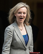© Licensed to London News Pictures. 18/03/2015. Westminster, UK Lizz Truss, Secretary of State for Environment,  leaves Downing Street on the day of the spring budget 2015. Photo credit : Stephen Simpson/LNP
