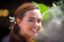 © Licensed to London News Pictures. 07/08/2016. Malton UK. Picture shows Hollyoaks actress Jennifer Metcalfe on a day out at Flamingo land in Yorkshire. The actress who plays Mercedes McQueen in the soap was accompanied by her partner & former Geordie Shore star Greg Lake. Jennifer was at Flamingo Land to launch a new restaurant at the adventure park called Fabrizio's. Photo credit: Andrew McCaren/LNP