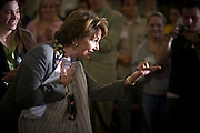 19 FEBRUARY 2007 -- TEMPE, AZ: NANCY PELOSI, Speaker of the House of Representatives, holds up an Arizona State University baseball jersey during an appearance at Arizona State University in Tempe, AZ., Monday. Pelosi appeared with Congressmen Raul Grijalva, Ed Pastor and Harry Mitchell, all from Arizona, and Congresswoman Barbara Lee, from California. They spent about an hour talking to ASU students about the Democrats' plans to improve college affordability and reduce the interest rates on student loans. It was Speaker Pelosi's first official domestic trip as Speaker of the House.  Photo by Jack Kurtz/ZUMA Press