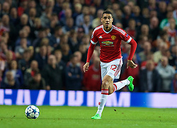 MANCHESTER, ENGLAND - Tuesday, August 18, 2015: Manchester United's Chris Smalling in action against Club Brugge during the UEFA Champions League Play-Off Round 1st Leg match at Old Trafford. (Pic by David Rawcliffe/Propaganda)
