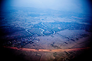 Aerial view over a landscape of northern Vietnam, Southeast Asia.