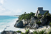 view of beach of the mayan archeologic site of tulum