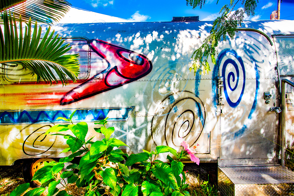 An Airstream trailer custom-painted by pop artist Kenny Scharf and on display in Miami's Wynwood arts district