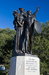 Statue honoring the Confederate Defenders of Charleston and Fort Sumter, White Point Gardens, Charleston, South Carolina, United States of America.