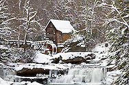 67395-04306 Glade Creek Grist Mill in winter, Babcock State Park, WV
