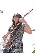 Gabrielle Pietrangelo plays banjo during the Silver Thread Trio concert at Fiesta en el Barrio Viejo 2010, Tucson, Arizona.