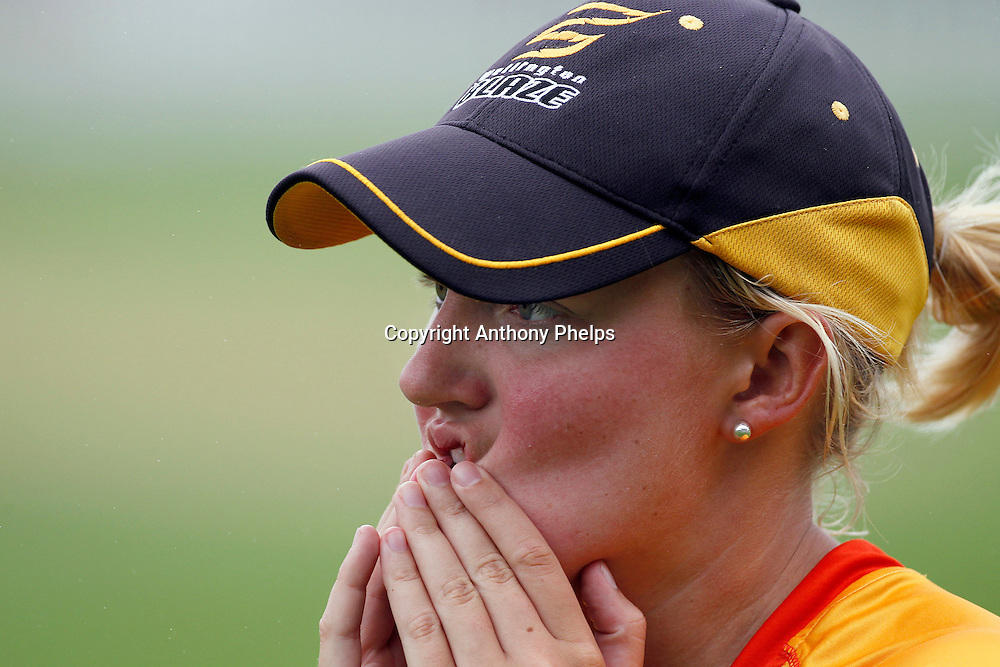 Wellington Blaze's Elizabeth Perry reacts to a misfield, Action Cricket Twenty20 Final, Blaze v Magicians. Basin Reserve, Wellington. Saturday 5 February 2011. Photo: Anthony Phelps/PHOTOSPORT