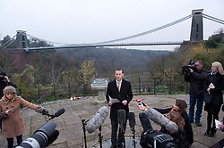 © Licensed to London News Pictures. 04/12/2014. Bristol, UK. DCI Simon Crisp of Avon & Somerset Police at a press conference at Sion viewing point by the Clifton Suspension Bridge, announcing that a baby girl's body has been found on the cliff face in the Avon Gorge, after a body, now confirmed as that of Charlotte Bevan, was found last night in the search for new mother Charlotte Bevan age 30 and her 4 day old baby daughter Zaani Tiana Bevan Malbrouck who went missing on Tuesday night from St Michael's Hospital in Bristol. Photo credit : Simon Chapman/LNP
