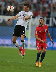 July 2, 2017 - Saint Petersburg, Russia - Leon Goretzka (L) of the Germany national football team and Marcelo Diaz of the Chile national football team vie for the ball during the 2017 FIFA Confederations Cup final match between Chile and Germany at Saint Petersburg Stadium on July 02, 2017 in St. Petersburg, Russia. (Credit Image: © Igor Russak/NurPhoto via ZUMA Press)