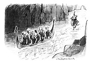 (A group of passengers in a long boat being poled down a narrow fjord find that the boatman has been left hanging to his pole in the middle of the fjord)
