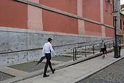 A man walks up Miklosiceva Cesta (street) in the Slovenian capital, Ljubljana, on 28th June 2018, in Ljubljana, Slovenia.