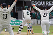 Hassan Azad survives a LBW appeal during the Specsavers County Champ Div 2 match between Leicestershire County Cricket Club and Gloucestershire County Cricket Club at the Fischer County Ground, Grace Road, Leicester, United Kingdom on 17 June 2019.