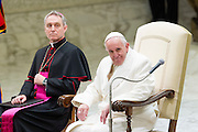 Vatican City dec 19th 2015, pope's audience to railway employers and workers. In the picture Georg Gaenswein, pope Francis