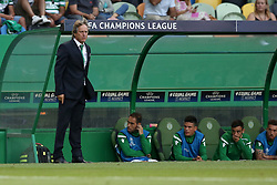 August 15, 2017 - Lisbon, Portugal - Sporting's head coach Jorge Jesus from Portugal (L) during the UEFA Champions League play-offs first leg football match between Sporting CP and FC Steaua Bucuresti at the Alvalade stadium in Lisbon, Portugal on August 15, 2017. (Credit Image: © Pedro Fiuza/NurPhoto via ZUMA Press)