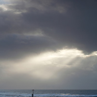 Winter sea view with storm clouds