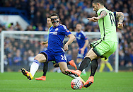 Cesar Azpilicueta of Chelsea and Aleksandar Kolarov of Manchester City during the FA Cup match at Stamford Bridge, London<br /> Picture by Alan Stanford/Focus Images Ltd +44 7915 056117<br /> 21/02/2016